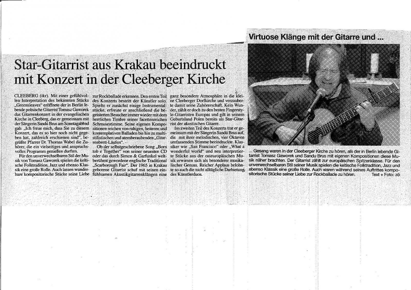 Rezension in Butzbacher Zeitung – Gitarrenunterricht Berlin